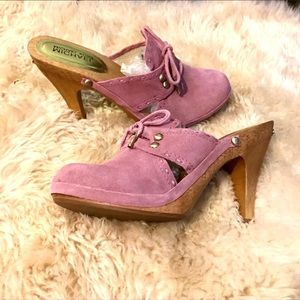 Michael Kors Dusty Rose suede mule clog size 8.5